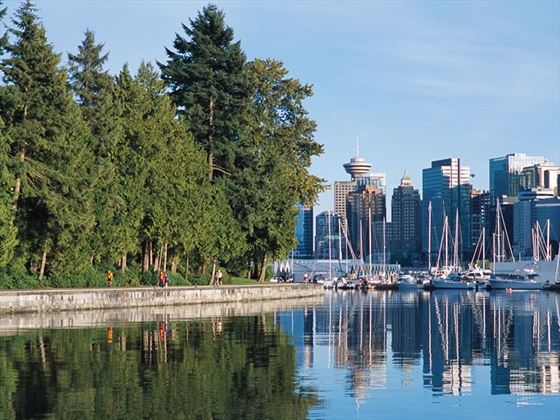 The Stanley Park seawall at Coal Harbour in Vancouver