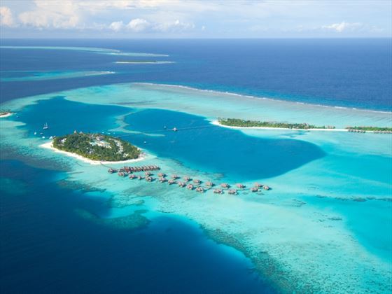 Aerial view of Conrad Maldives Rangali Island