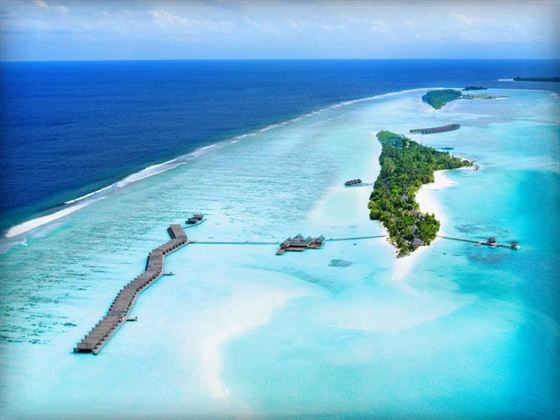Aerial view of the Lux Maldives resort