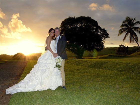 Beautiful wedding sunset at Heritage Le Telfair