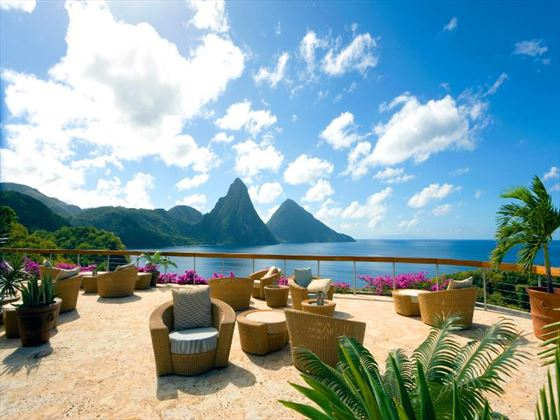 Lounge terrace overlooking the ocean at Jade Mountain