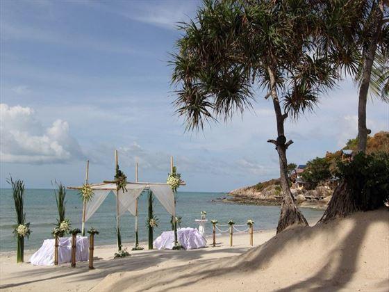 Beach wedding setting at the Melati Beach Resort & Spa