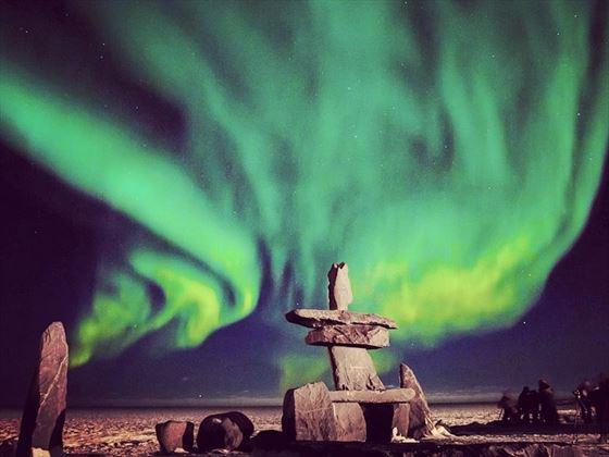 Northern lights over Hudson Bay, Manitoba