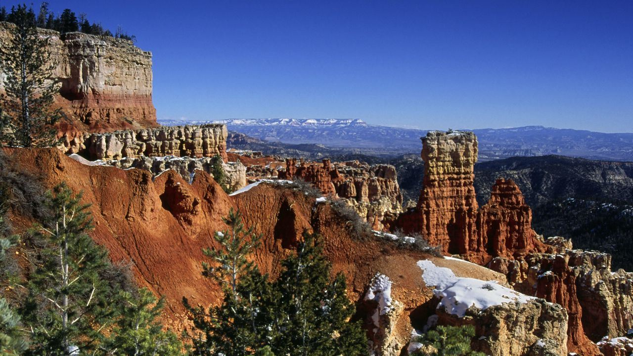 The red limestone terrain of Bryce Canyon National Park, Utah