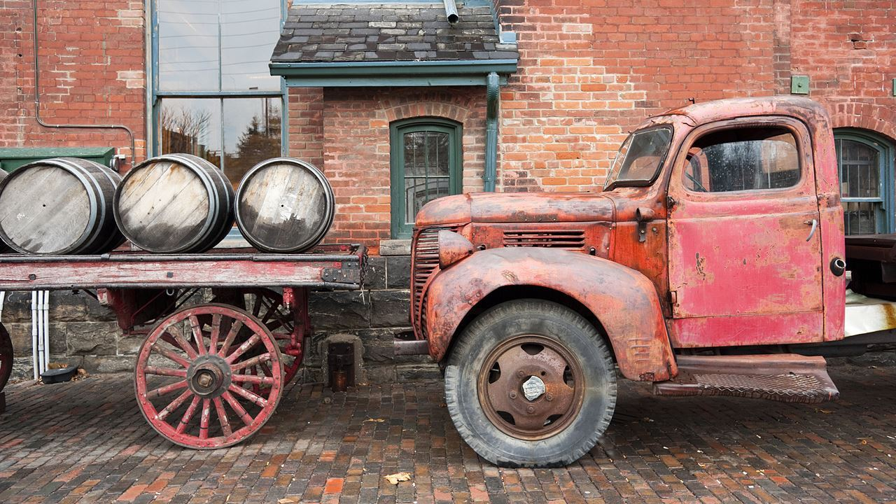 Whiskey truck, Toronto's Distillery District
