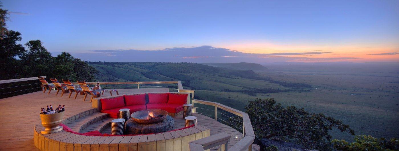 Angama Mara veranda and campfire