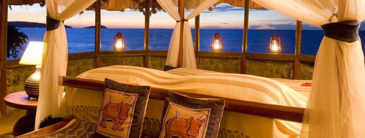 Mfangano Island Camp bedroom and view