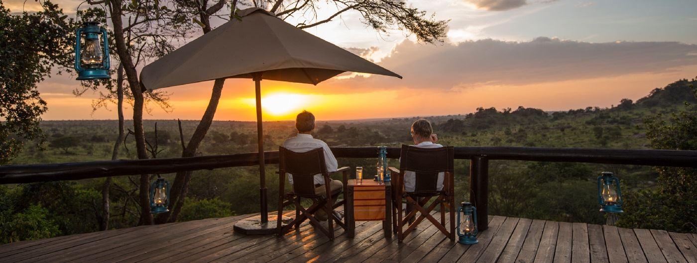 Serengeti Migration Camp sunset on viewing platform