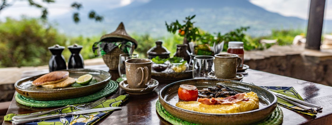 Virunga Lodge breakfast with a view