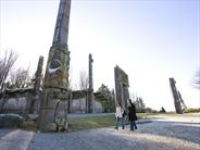 Totem poles and Haida houses on the grounds of the Museum of Anthropology at UBC, Vancouver