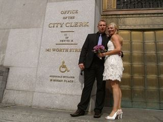 Bride & Groom outside the City Clerks Office