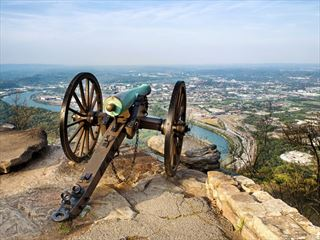 Civil war era cannon overlooking Chattanooga