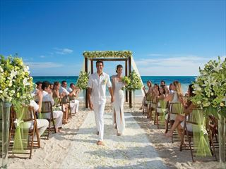 Tropical beach wedding setup