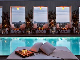 Pool at night at Mondrian