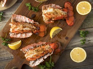 Seasoned baked lobster tails, Maine