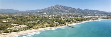 Aerial view of Casablanca and Puente Romano beach, Marbella