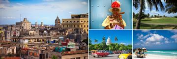 Beautiful Cuba; View of Havana, Cuban lady smoking a Cigar, Varadero Beach, Cars in Havana Old City (shown Clockwise)