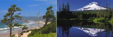 Cannon Beach and views of Mount Hood