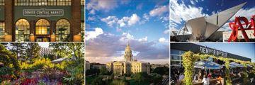 Clockwise: Grand Central Market, Colorado Capitol Building, Denver Art Museum, Denver Beer Company, Denver Botanical Garden