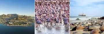 Aerial of Cape Town, Namibia flamingos & Walvis Bay