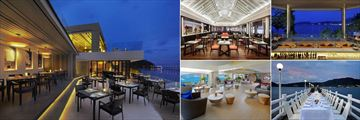 Amari Phuket, (clockwise from left): La Gritta, Rim Talay, Samutr Bar, The Jetty and Voyager Lounge