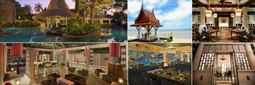 Anantara Hua Hin Resort, (clockwise from top left): Loy Nam Pool Bar, Seafront Dining Sala, Baan Thalia, Sala Siam Wine Cellar, Rim Nam Thai Restaurant and Sala Siam