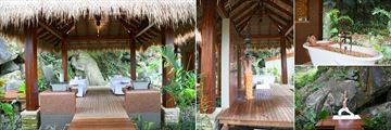 Maia Luxury Resort & Spa, Spa Couples Treatment Pavilion, Shower, Frangipani Bath and Yoga