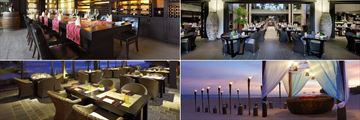 Anantara Mui Ne, (clockwise from top left): The Wine Room, L'Anmien Restaurant, Beachfront Dining and Thung Restaurant