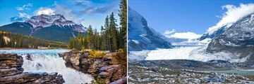 Athabasca Falls and Glacier in Jasper