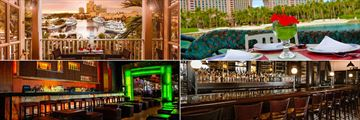 Atlantis Paradise Island, (clockwise from top left): Cafe Martinique, Lagoon Bar & Grill, Seafire Steakhouse and Nobu