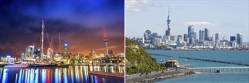 Auckland skylines, day and night