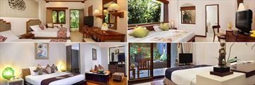 Clockwise from top left: Superior Room, Deluxe Cottage, Private Courtyard Room and Junior Suite at Bali Mandira