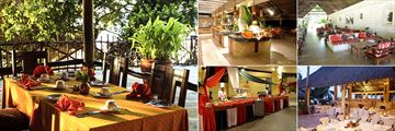 Baobab Beach Resort & Spa, (clockwise from left): Jodari Restaurant, Maridadi Restaurant, Swahili Lounge, Karibu Restaurant and Karibu Buffet