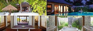 Clockwise From Top Left: Baros Villas, Baros Suites, Outdoor Bathrooms and Deluxe Villas at Baros Maldives