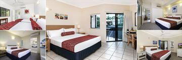 Bay Villas Resort, Port Douglas, (clockwise from top left): One Bedroom Apartment, Studio, One Bedroom King Apartment, Two Bedroom Apartment Master and Three Bedroom Apartment Master