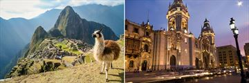 Llamas in Machu Picchu, and Lima architecture