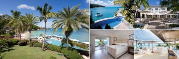 Blue Waters, Pool and beach view, Rock Cottage plunge pool, Palm Terrace, Carolyns Bar, Luxury Suite Bedroom (images show clockwise)