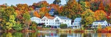 Boston neightbourhood in the fall