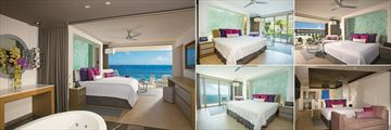 Breathless Riviera Cancun Resort & Spa, Master Suite Oceanfront, Junior Suite Swimout Tropical View, Junior Suite Tropical View, Presidential Suite Oceanfront and Allure Junior Suite Ocean Front