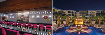 Showstopper (left) and Fizz Champagne Bar (right) at Breathless Riviera Cancun