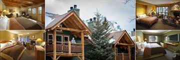 Buffalo Mountain Lodge, (clockwise from top left): Premier Room, Cabin Balcony, Open Studio, Buffalo Room and Lodge Room