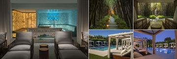 Bungalows Key Largo,  (clockwise from left): Spa Salt Sauna, Spa Garden, Spa Garden, Pool at Night and Pool by Day