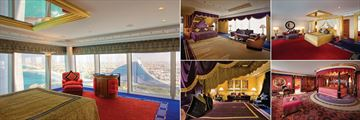 Burj Al Arab Jumeirah, (clockwise from left): Panoramic View Suite, Diplomatic Suite, Two Bedroom Deluxe Suite, Royal Suite and Club Suite