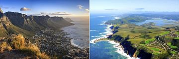 Cape Town at sunset & Aerial view of the Knysna Garden Route, South Africa