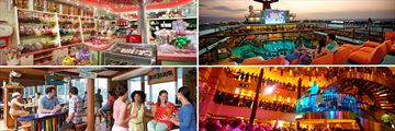 Carnival Valor Cherry on top Sweet Shop, Dive in Movies, Atrium, Blue Iguana Bar (shown clockwise)