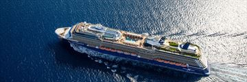 Aerial view of Celebrity Equinox cruise ship at sea
