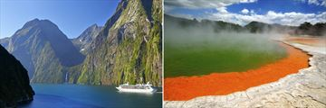 Milford Sound (left), and Wai O'Tapu, Rotorua (right)