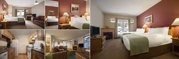 Coast Sundance Lodge, (clockwise from top left): Premium Room with Queen Bed, Premium One Bedroom Suite, Superior Room with Two Double Beds, Premium Two Bedroom Suite Living Area and Suite Kitchen