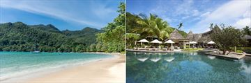 Constance Ephelia, Seychelles, Beach and Helios Restaurant and Pool
