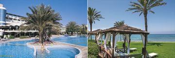 Pool and beach cabanas at Constantinou Bros Athena Beach Hotel